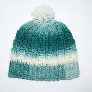 Crochet cable beanie wool teal and cream